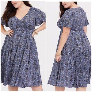Torrid Blue Damask Challis Midi Dress 3